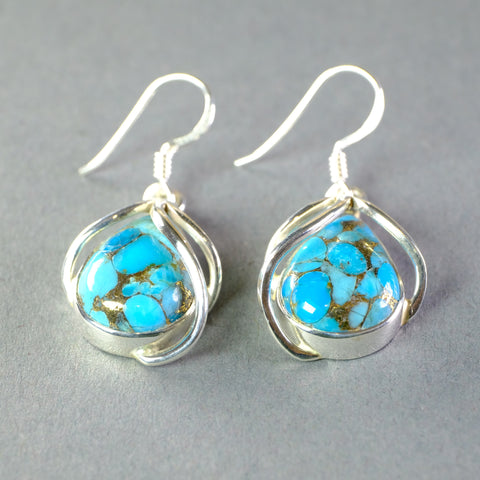Silver and Mojave Turquoise Earrings