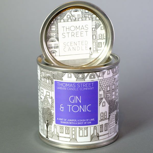 Thomas Street 'Gin and Tonic' Scented Candle in a Tin.