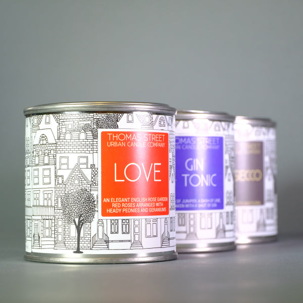 Thomas Street 'Love' Scented Candle in a Tin.