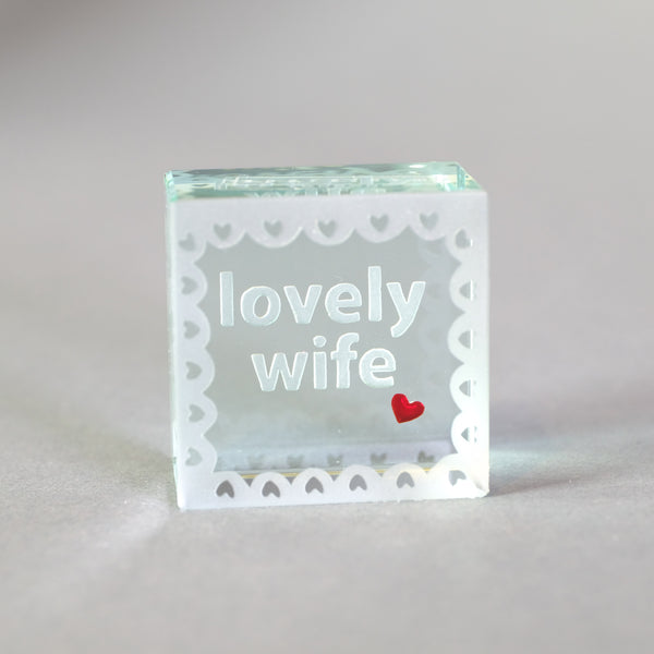 'Lovely Wife' Glass Cube Token.