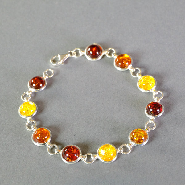 Silver and Mixed Amber Bracelet.