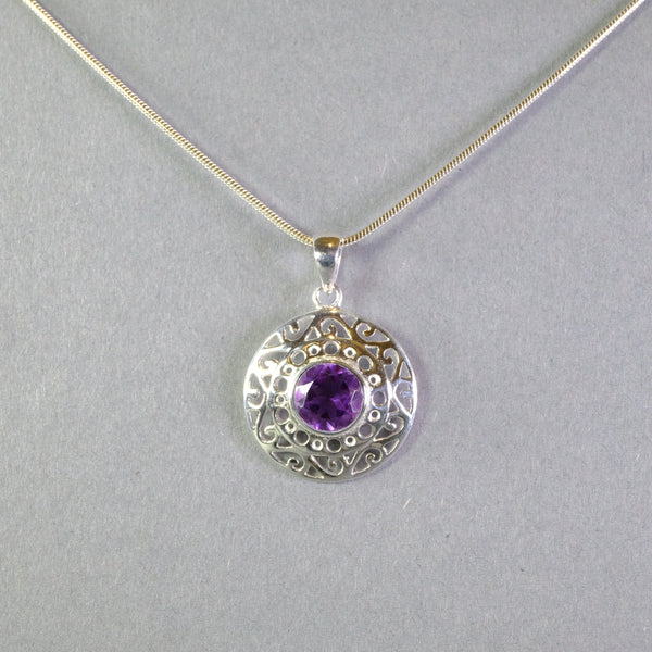Amethyst and Silver Pendant.