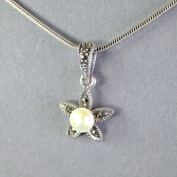 Silver, Pearl and Marcasite Flower Pendant.