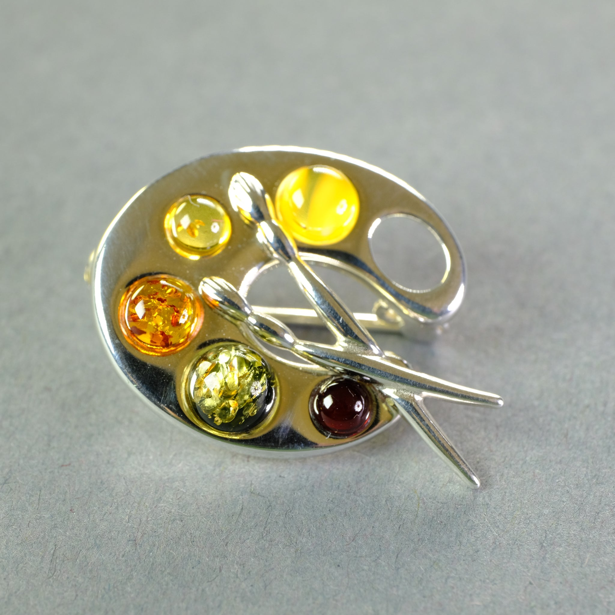 Amber and Silver Artist Palette Brooch.