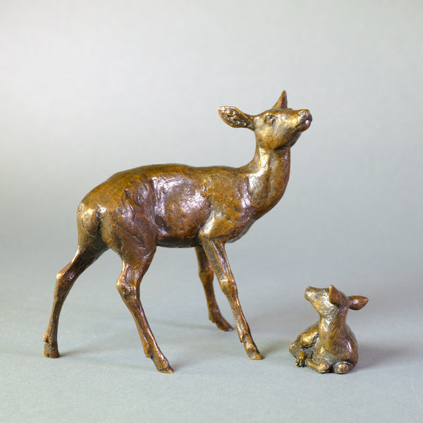 'Hind and Fawn' Bronze by Michael Simpson