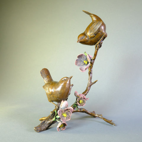 'Wrens in Apple Blossom' Bronze by Michael Simpson