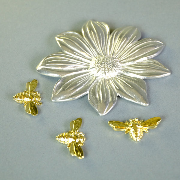 Pewter Flower Trinket Tray with Bees.