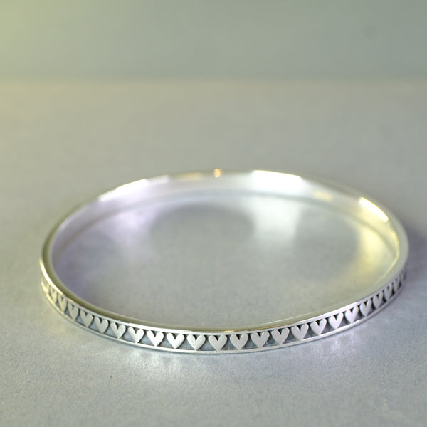 Linda Macdonald Handmade Silver Heart Bangle - Small.
