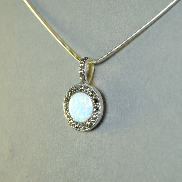 Opal and Marcasite Silver Pendant.