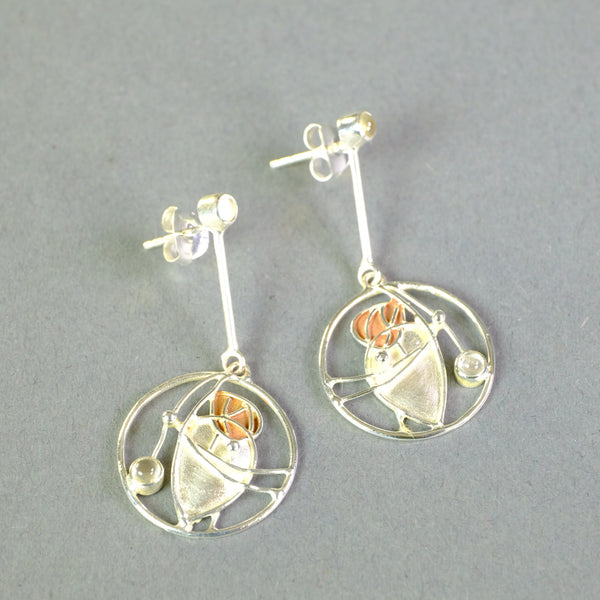 Silver and Moonstone Earrings by Paula Bolton, in a Mackintosh Design.