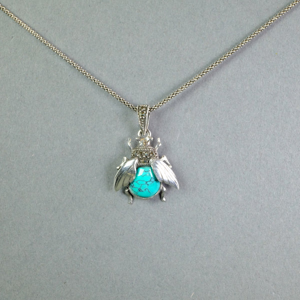 Turquoise and Silver Bee Design Pendant.