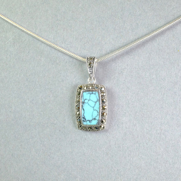 Silver, Turquoise and Marcasite Pendant.