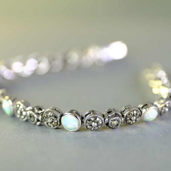 Opal, Marcasite and Silver Bracelet.