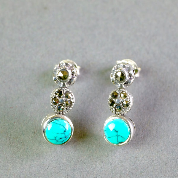 Silver, Marcasite and Turquoise Earrings.