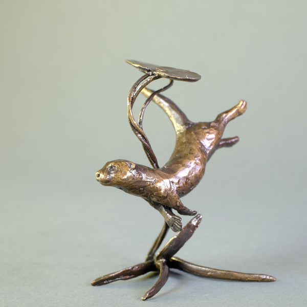 'Swimming Otter' Miniature Bronze.