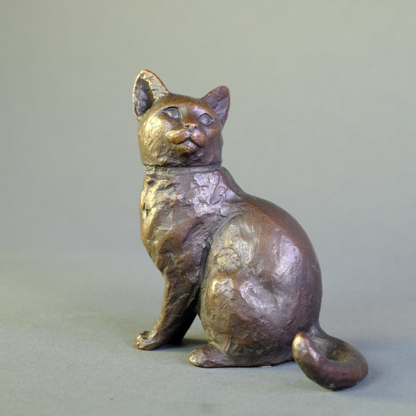 'Sitting Cat' Bronze by Michael Simpson