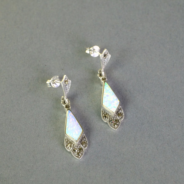 Opal, Marcasite and Silver earrings