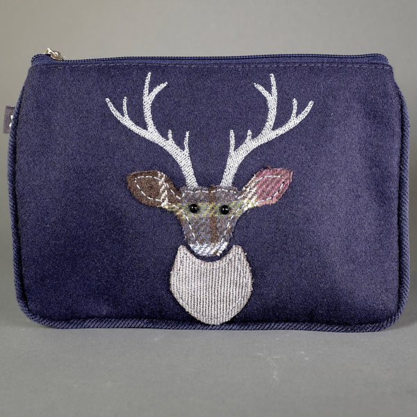 Navy Appliqué Deer Design Purse.