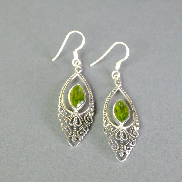 Silver and Peridot Drop Earrings.