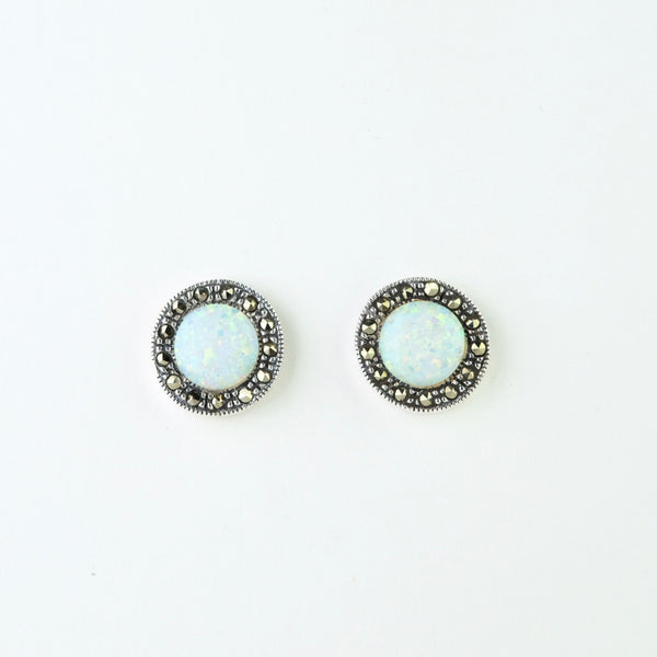 Marcasite, Silver and Opal Stud Earrings .