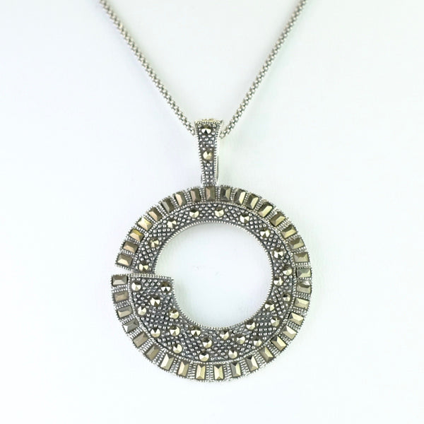 Marcasite and Silver Art Deco Style Pendant.