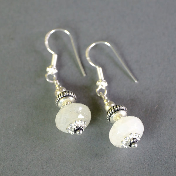 Silver and Faceted Moonstone Earrings.