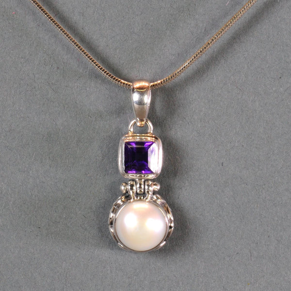 Silver, Pearl and Amethyst Pendant.