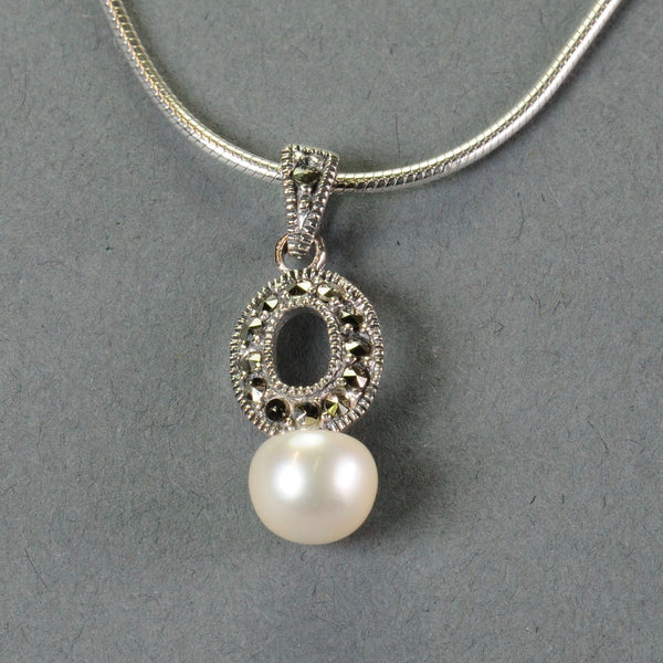 Marcasite and Silver Pendant with Pearl.
