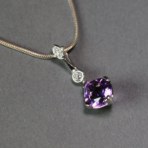 Silver, Amethyst and Cubic Zirconia Pendant