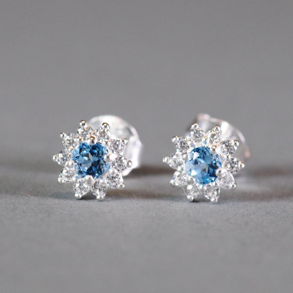 Silver and Blue Topaz Stud Earrings.