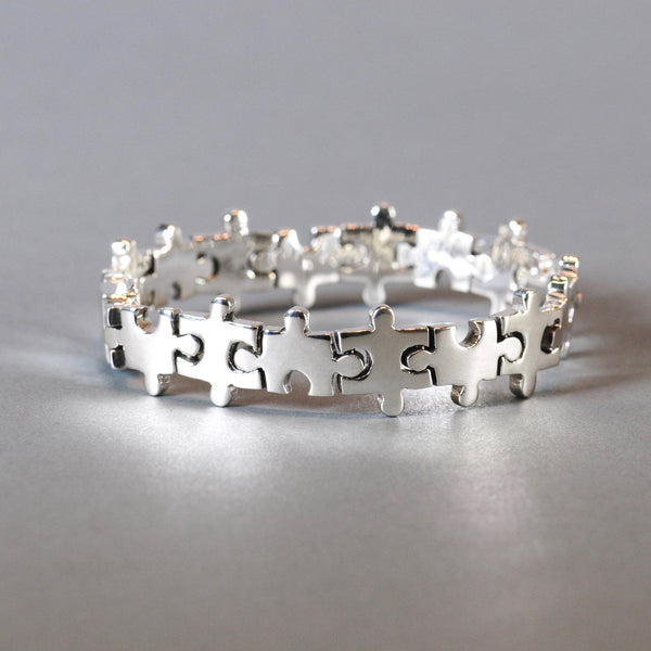 Sterling Silver Bracelet with a Jigsaw Design