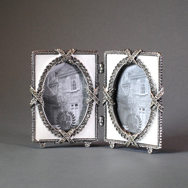 Jewelled and Enamelled Double Photograph Frame.