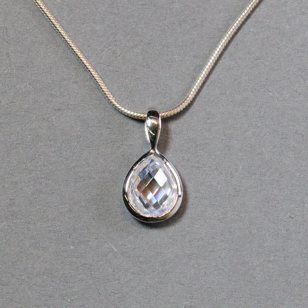 Cubic Zirconia and Silver Pendant.
