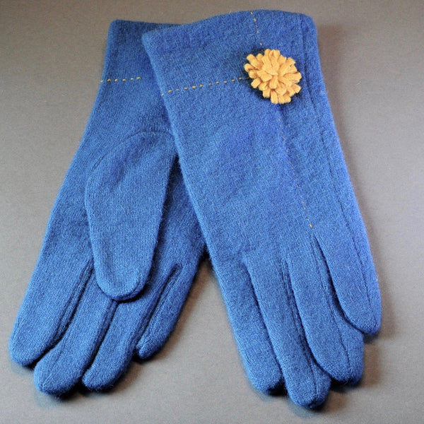 Teal and Mustard Wool Gloves.