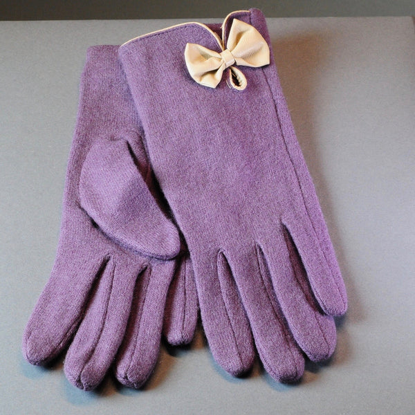 Mulberry Wool Gloves with Bow