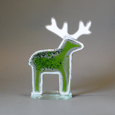 Fused Glass Reindeer, Green