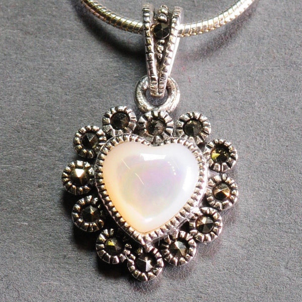 Silver, Marcasite and Mother of Pearl Pendant