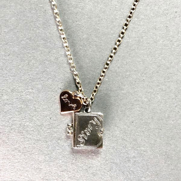 Handmade Silver by Nick Hubbard 'Love Story, You and Me' Pendant.