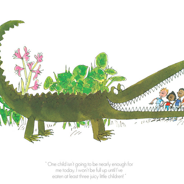 Roald Dahl's ' The Enormous Crocodile' 'One Child is not enough' Framed Limited Edition Print by Quentin Blake.