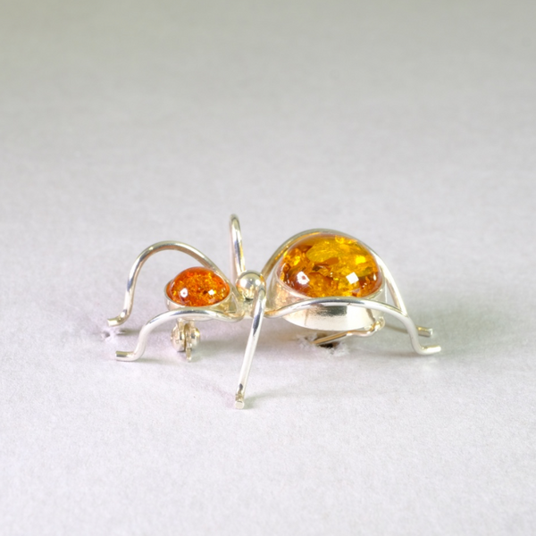 Sterling Silver and Amber Ant Design Brooch.