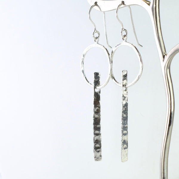 Textured Silver Geometric Earrings by JB Designs.