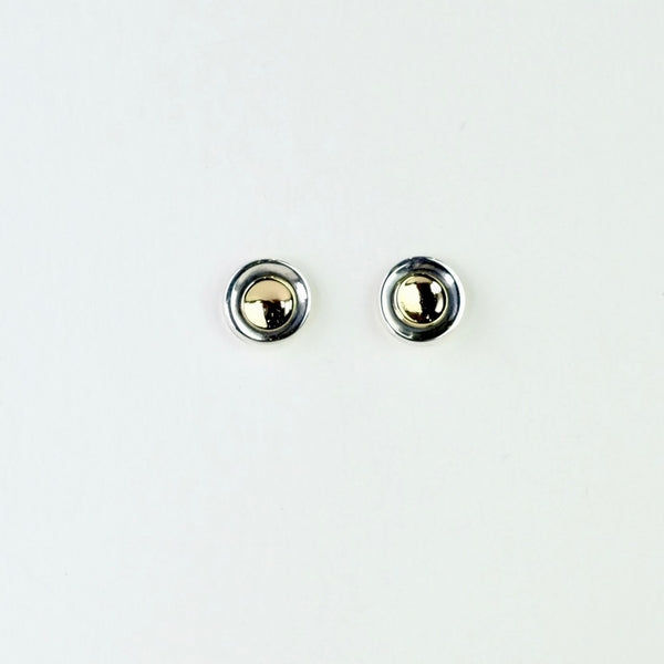 Linda Macdonald Handmade Silver and Gold Moon Stud Earrings.
