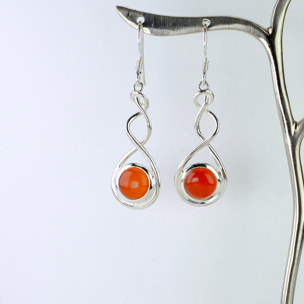Carnelian and Silver Drop Earrings.