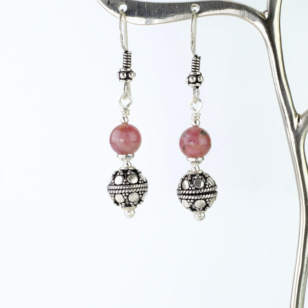 Silver and Tourmaline Drop Earrings.