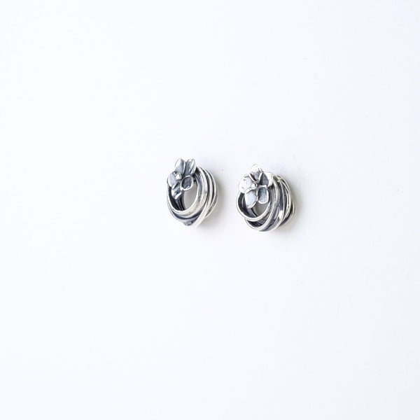 Linda Macdonald Handmade Silver and Floral Entwined Stud Earrings.