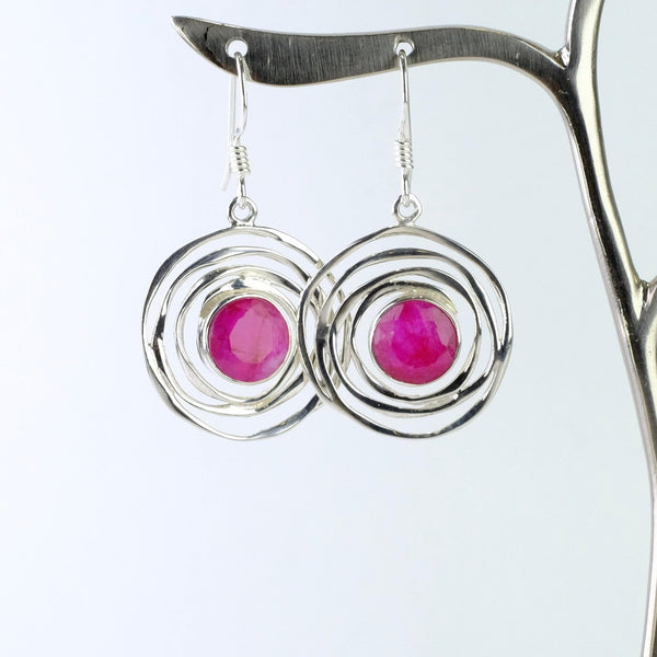 Silver and Ruby Quartz Swirl Drop Earrings.