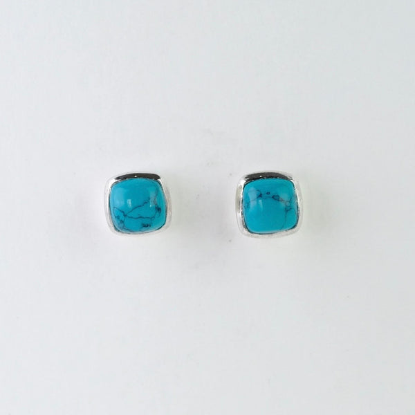 Square Turquoise and Silver Stud Earrings.