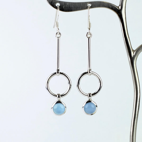 Silver and Chalcedony Drop Earrings.