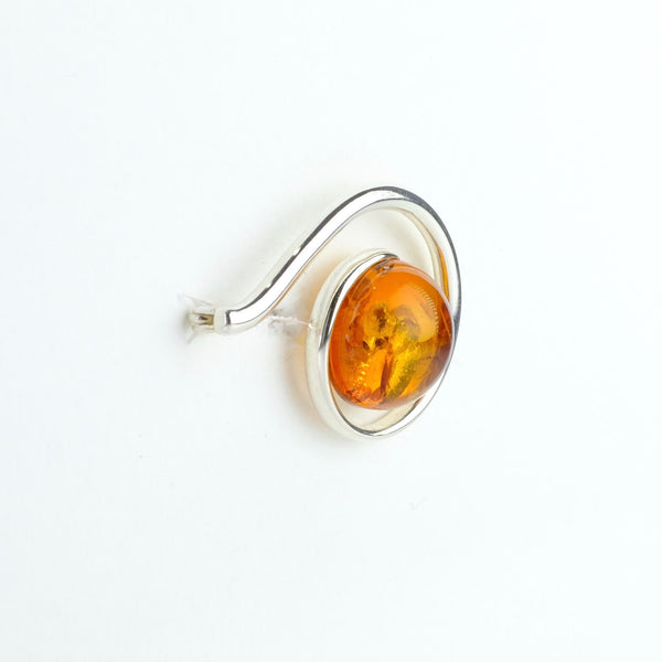 Contemporary Design Silver and Amber Brooch.