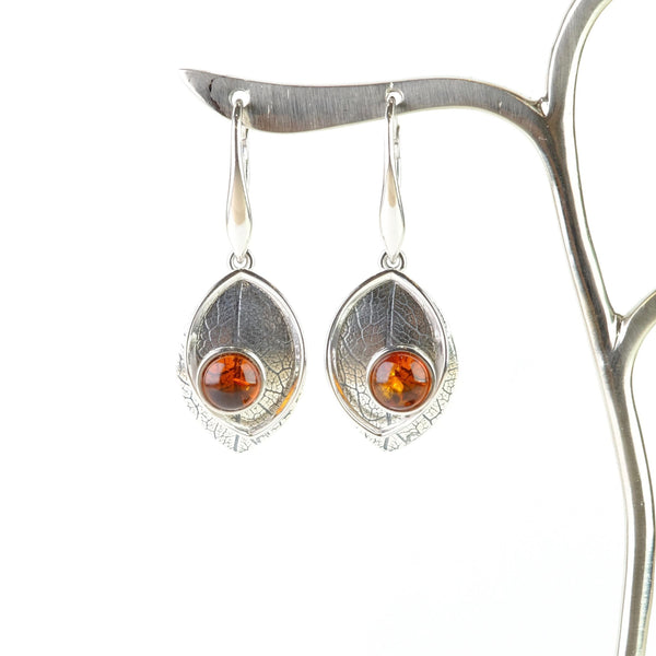 Amber and Silver Leaf Earrings.
